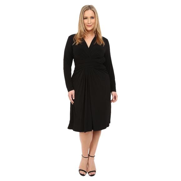 bacf713d7214 Lane Bryant Dresses & Skirts - LANE BRYANT Black Jersey Faux Wrap Dress LBD  [B3